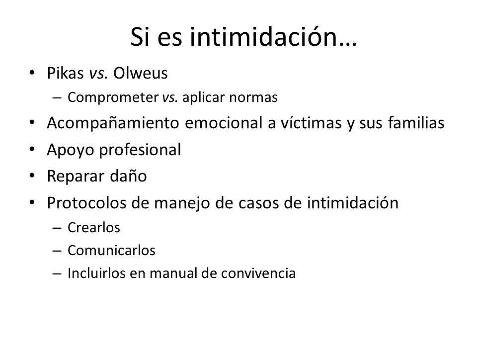 Si es intimidación… Pikas vs.Olweus – Comprometer vs.