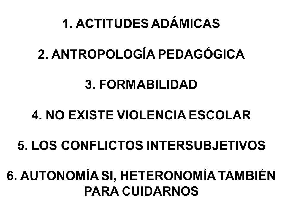 1.ACTITUDES ADÁMICAS 2. ANTROPOLOGÍA PEDAGÓGICA 3.