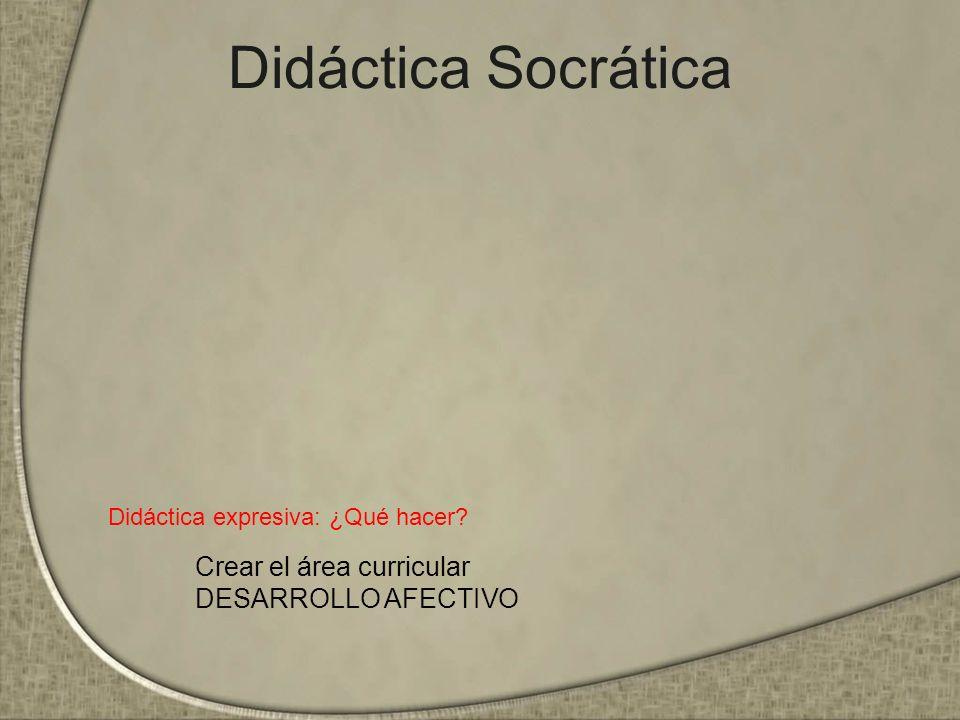 Didáctica Socrática Didáctica expresiva: ¿Qué hacer? Crear el área curricular DESARROLLO AFECTIVO