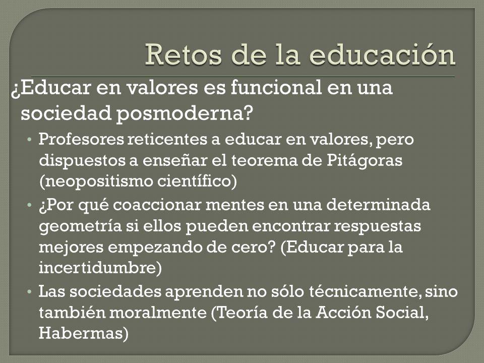 ¿Educar en valores es funcional en una sociedad posmoderna.