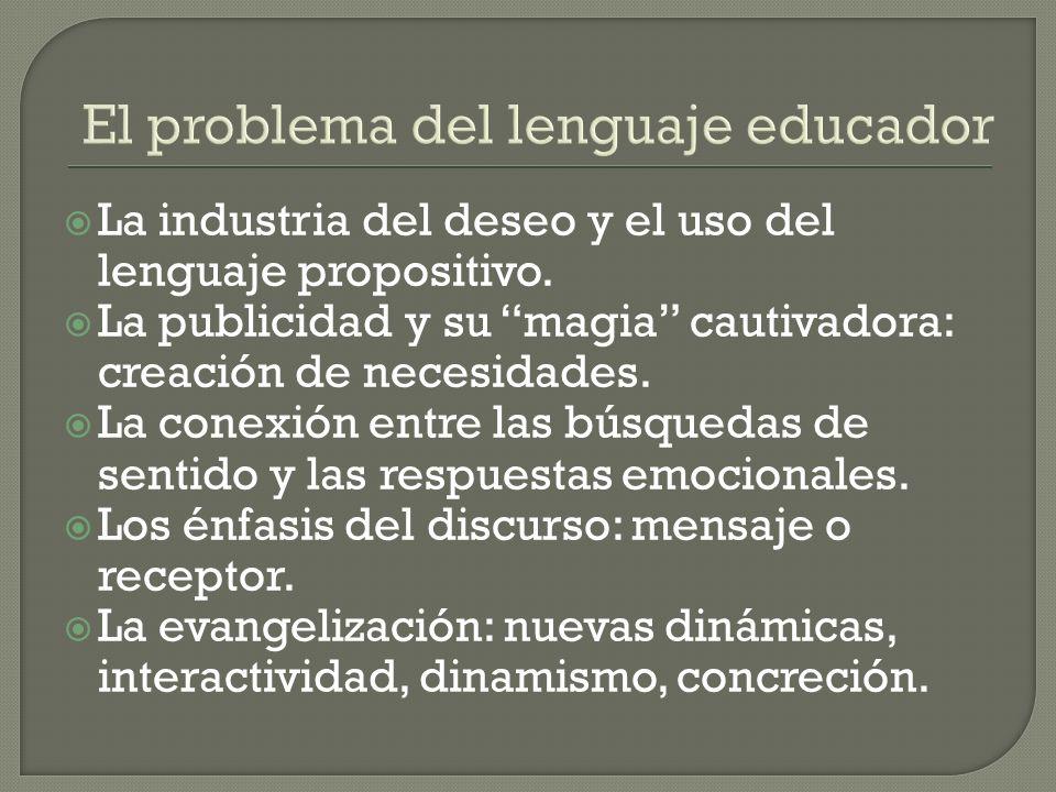 El problema del lenguaje educador La industria del deseo y el uso del lenguaje propositivo.
