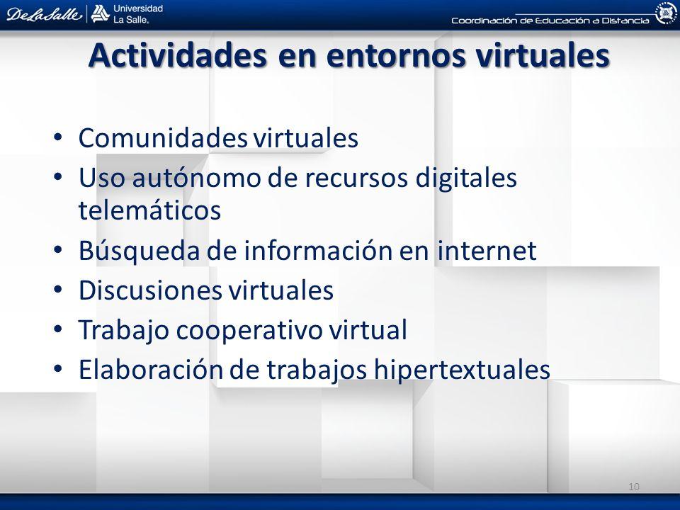 Actividades en entornos virtuales Comunidades virtuales Uso autónomo de recursos digitales telemáticos Búsqueda de información en internet Discusiones