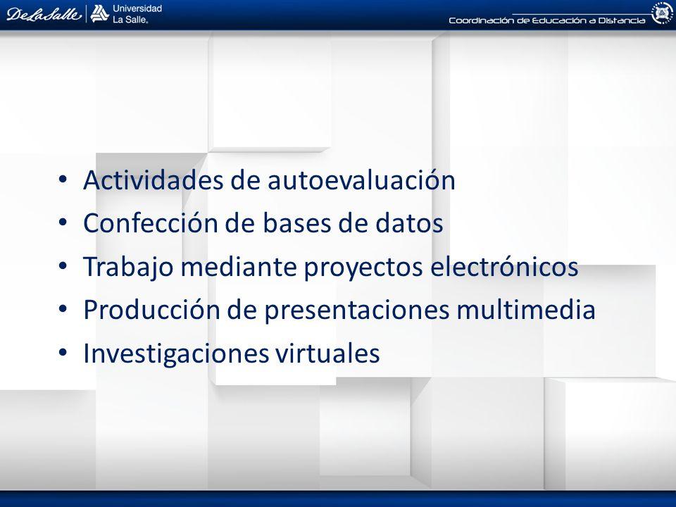 Actividades de autoevaluación Confección de bases de datos Trabajo mediante proyectos electrónicos Producción de presentaciones multimedia Investigaci