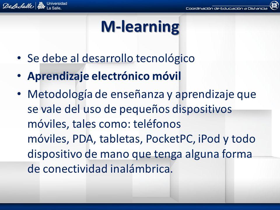 M-learning Se debe al desarrollo tecnológico Aprendizaje electrónico móvil Metodología de enseñanza y aprendizaje que se vale del uso de pequeños disp