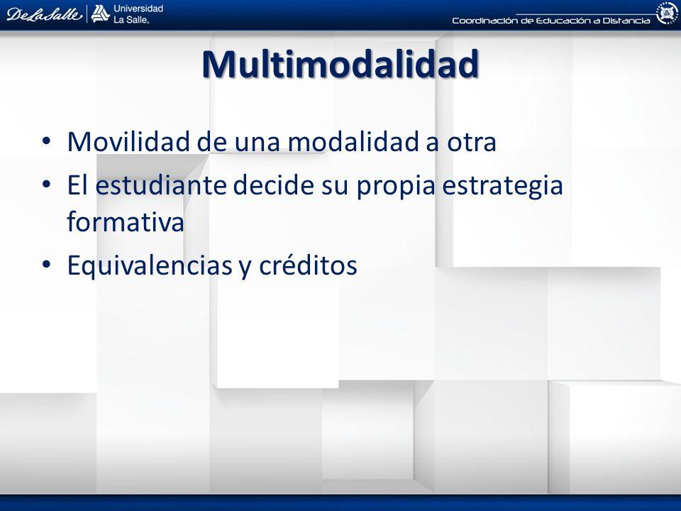 Multimodalidad Movilidad de una modalidad a otra El estudiante decide su propia estrategia formativa Equivalencias y créditos