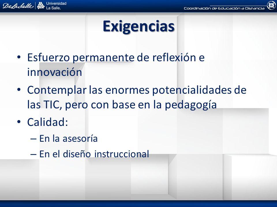 Exigencias Esfuerzo permanente de reflexión e innovación Contemplar las enormes potencialidades de las TIC, pero con base en la pedagogía Calidad: – E
