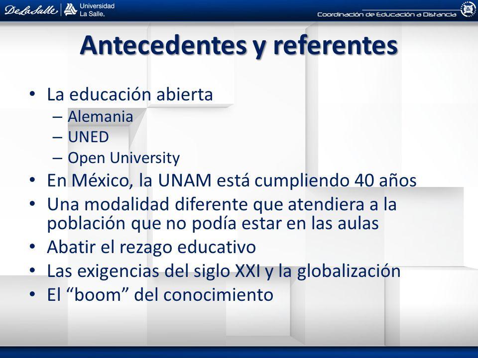 Antecedentes y referentes La educación abierta – Alemania – UNED – Open University En México, la UNAM está cumpliendo 40 años Una modalidad diferente