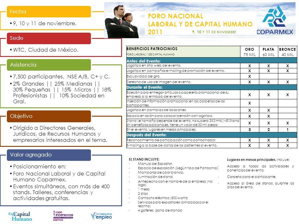 3 y 4 de noviembre Fecha Guadalajara, Jalisco. Sede 1,500 participantes. NSE C+, C y D+. Asistencia Evento dirigido a jóvenes profesionistas, emprende