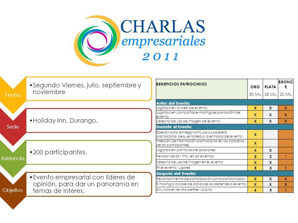 14 y 15 de julio. Fecha Hotel Crowne Plaza, Tlalnepantla, Estado de México. Sede 900 participantes. NSE C+ y C. 40% Medianas || 30% Pequeñas || 15% Mi