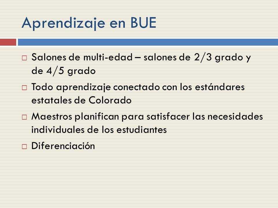 Aprendizaje en BUE Salones de multi-edad – salones de 2/3 grado y de 4/5 grado Todo aprendizaje conectado con los estándares estatales de Colorado Maestros planifican para satisfacer las necesidades individuales de los estudiantes Diferenciación