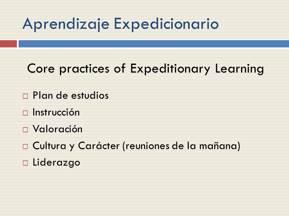Aprendizaje Expedicionario Plan de estudios Instrucción Valoración Cultura y Carácter (reuniones de la mañana) Liderazgo Core practices of Expeditionary Learning