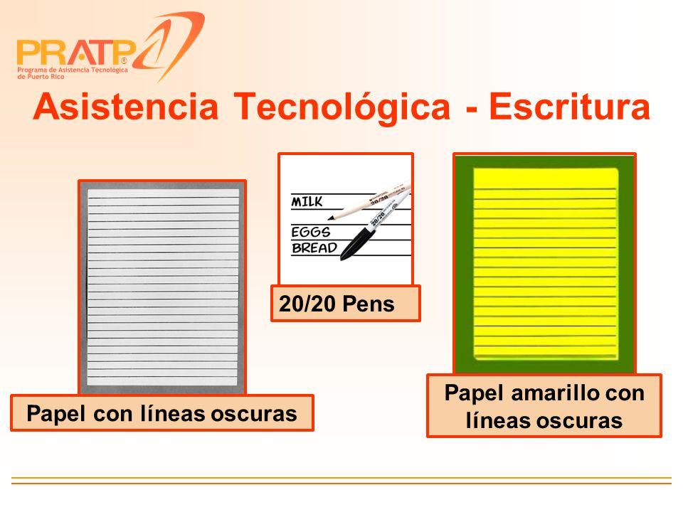 ® Asistencia Tecnológica - Escritura 20/20 Pens Papel con líneas oscuras Papel amarillo con líneas oscuras