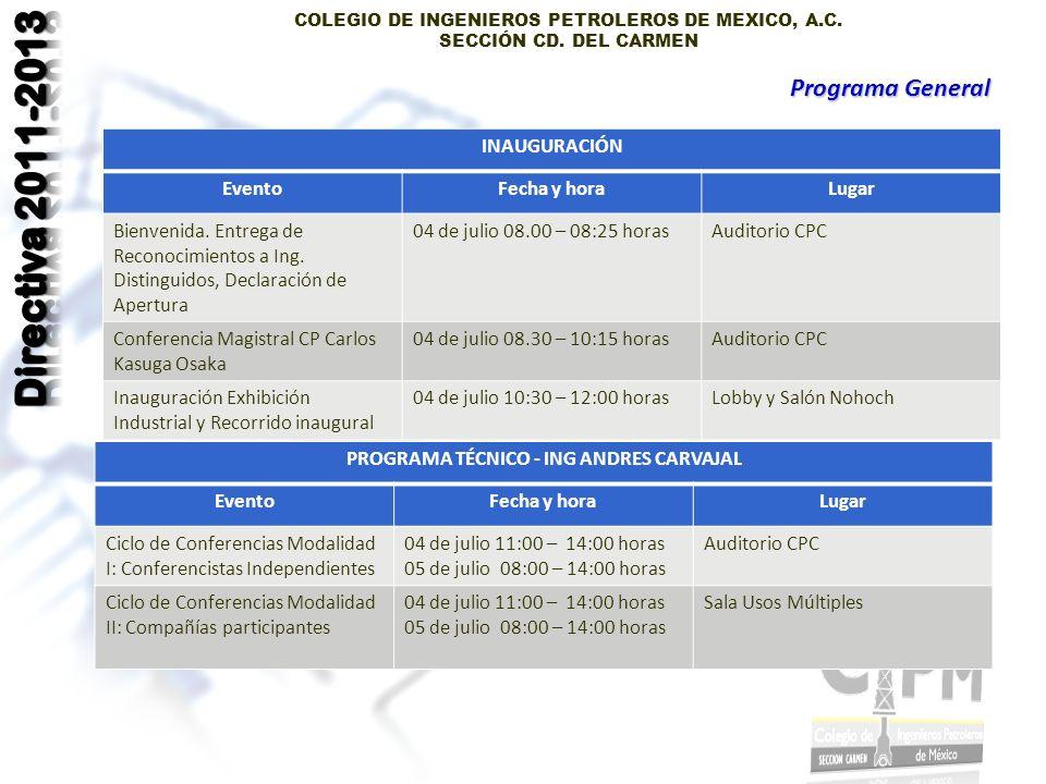 COLEGIO DE INGENIEROS PETROLEROS DE MEXICO, A.C. SECCIÓN CD.