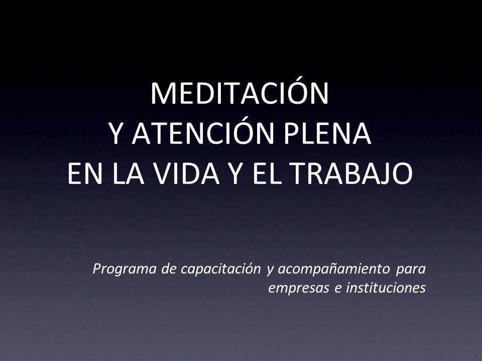 MEDITACIÓN Y ATENCIÓN PLENA EN LA VIDA Y EL TRABAJO Programa de capacitación y acompañamiento para empresas e instituciones