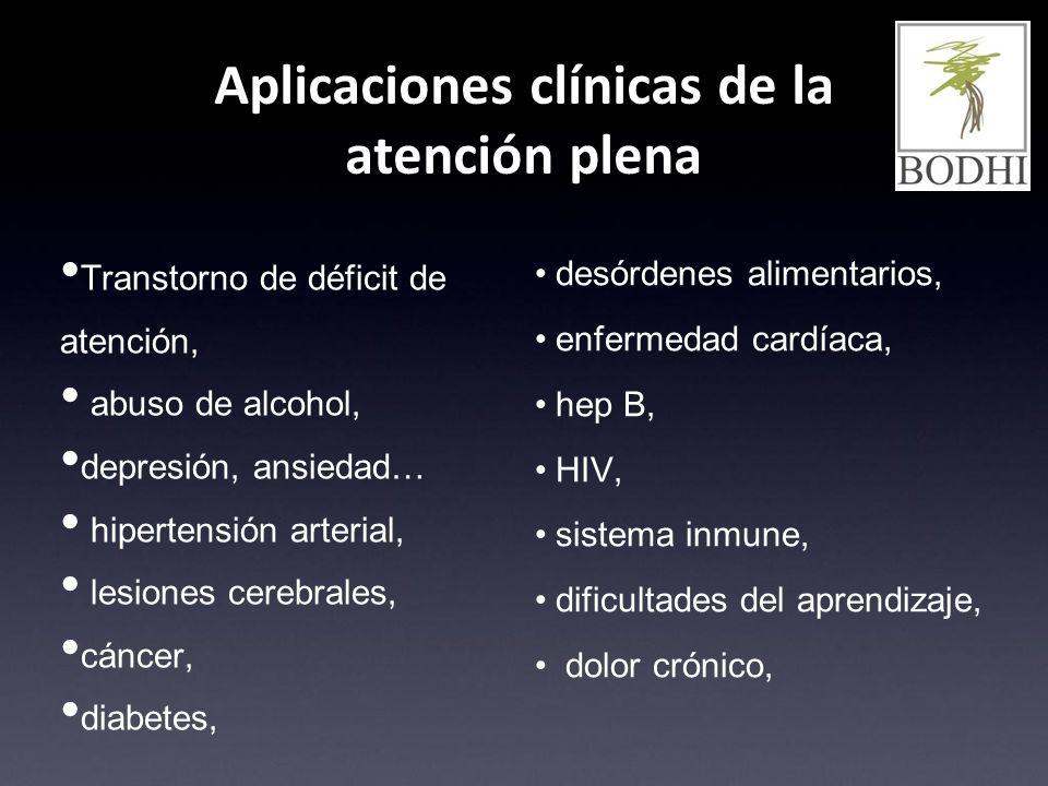 Aplicaciones clínicas de la atención plena desórdenes alimentarios, enfermedad cardíaca, hep B, HIV, sistema inmune, dificultades del aprendizaje, dol