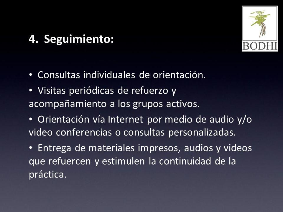 4. Seguimiento: Consultas individuales de orientación. Visitas periódicas de refuerzo y acompañamiento a los grupos activos. Orientación vía Internet