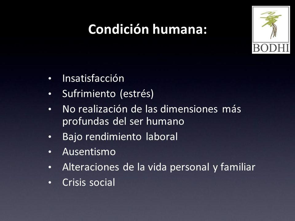 Condición humana: Insatisfacción Sufrimiento (estrés) No realización de las dimensiones más profundas del ser humano Bajo rendimiento laboral Ausentis