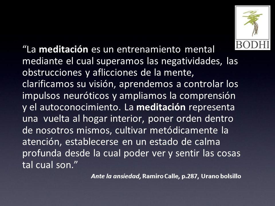 La meditación es un entrenamiento mental mediante el cual superamos las negatividades, las obstrucciones y aflicciones de la mente, clarificamos su vi