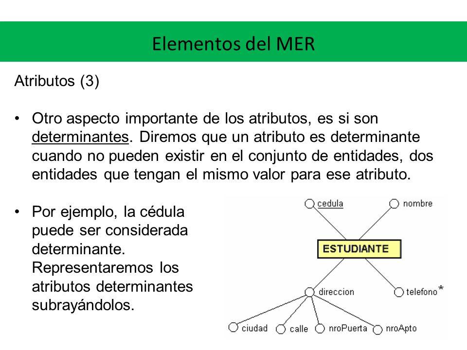 Elementos del MER Atributos (3) Otro aspecto importante de los atributos, es si son determinantes. Diremos que un atributo es determinante cuando no p