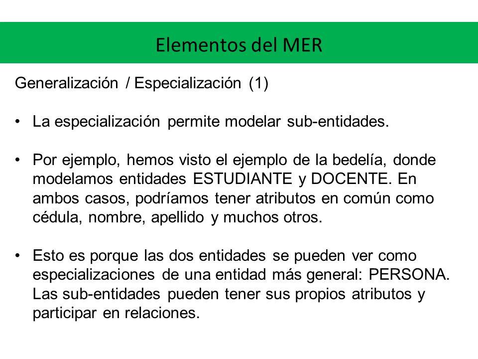 Elementos del MER Generalización / Especialización (1) La especialización permite modelar sub-entidades. Por ejemplo, hemos visto el ejemplo de la bed
