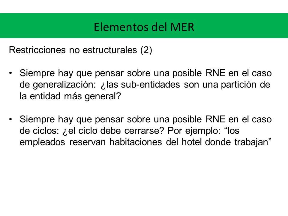 Elementos del MER Restricciones no estructurales (2) Siempre hay que pensar sobre una posible RNE en el caso de generalización: ¿las sub-entidades son