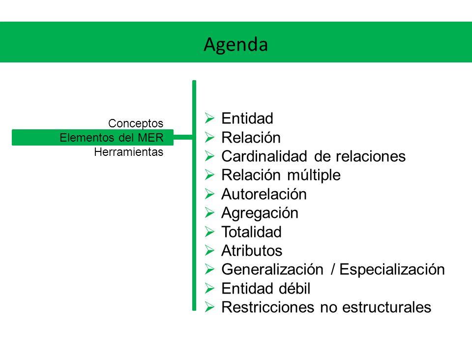 Agenda Entidad Relación Cardinalidad de relaciones Relación múltiple Autorelación Agregación Totalidad Atributos Generalización / Especialización Enti