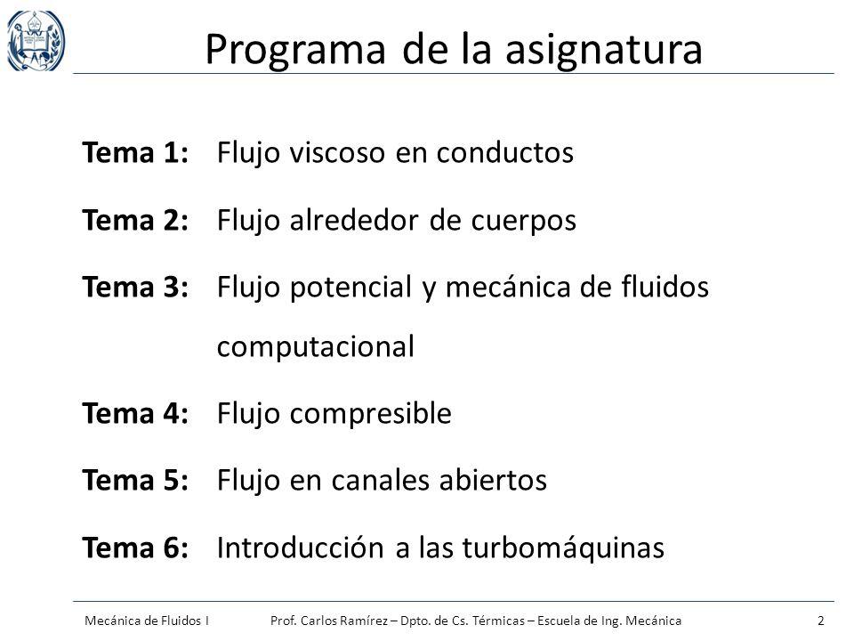 Programa de la asignatura Tema 1:Flujo viscoso en conductos Tema 2:Flujo alrededor de cuerpos Tema 3:Flujo potencial y mecánica de fluidos computacion