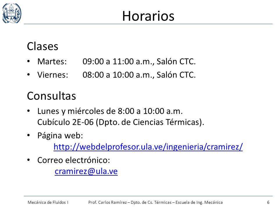 Horarios Clases Martes:09:00 a 11:00 a.m., Salón CTC. Viernes:08:00 a 10:00 a.m., Salón CTC. Consultas Lunes y miércoles de 8:00 a 10:00 a.m. Cubículo