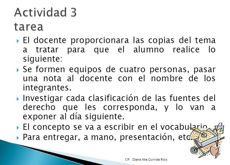 El docente proporcionara las copias del tema a tratar para que el alumno realice lo siguiente: Se formen equipos de cuatro personas, pasar una nota al