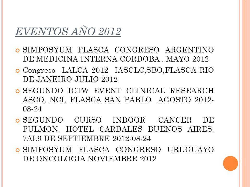 EVENTOS AÑO 2012 SIMPOSYUM FLASCA CONGRESO ARGENTINO DE MEDICINA INTERNA CORDOBA. MAYO 2012 Congreso LALCA 2012 IASCLC,SBO,FLASCA RIO DE JANEIRO JULIO