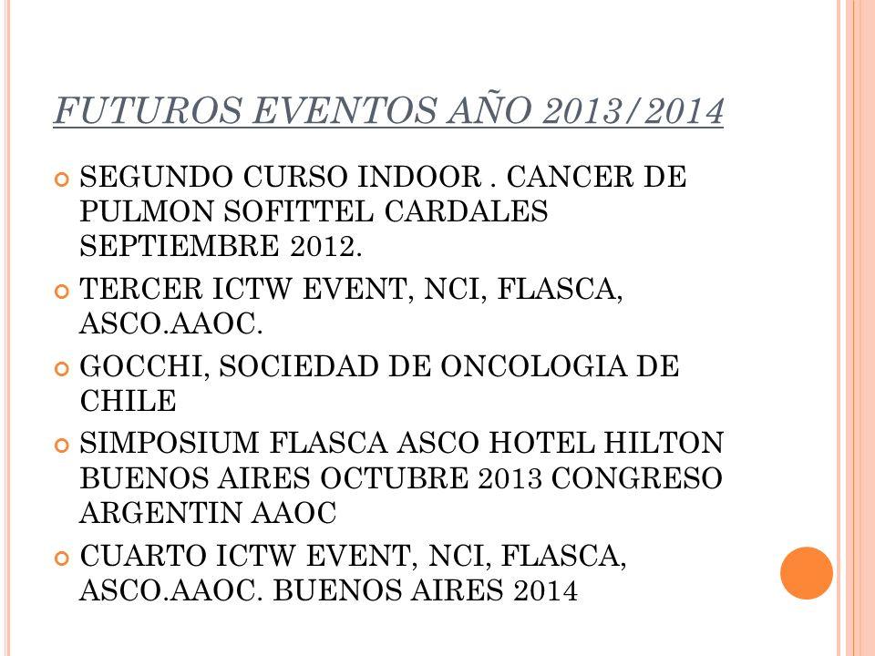 FUTUROS EVENTOS AÑO 2013/2014 SEGUNDO CURSO INDOOR. CANCER DE PULMON SOFITTEL CARDALES SEPTIEMBRE 2012. TERCER ICTW EVENT, NCI, FLASCA, ASCO.AAOC. GOC