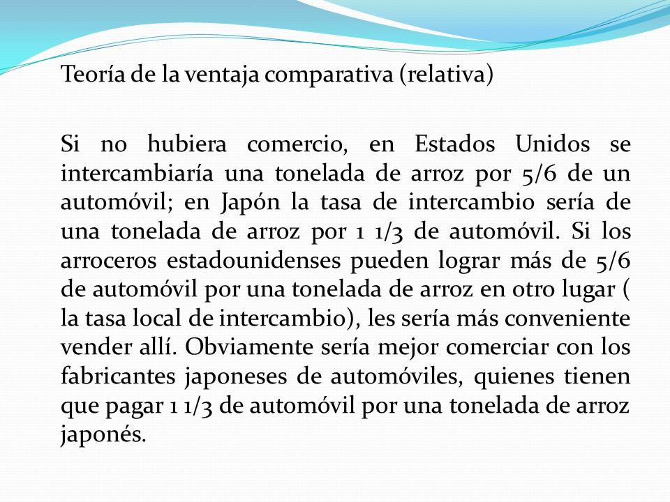 Teoría de la ventaja comparativa (relativa) Si no hubiera comercio, en Estados Unidos se intercambiaría una tonelada de arroz por 5/6 de un automóvil;