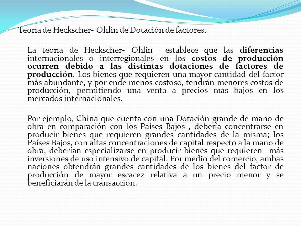 Teoría de Heckscher- Ohlin de Dotación de factores. La teoría de Heckscher- Ohlin establece que las diferencias internacionales o interregionales en l