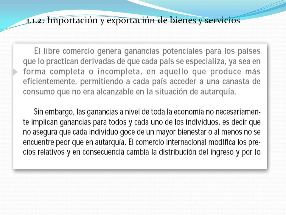 1.1.2. Importación y exportación de bienes y servicios