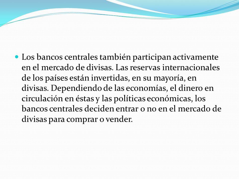 Los bancos centrales también participan activamente en el mercado de divisas. Las reservas internacionales de los países están invertidas, en su mayor