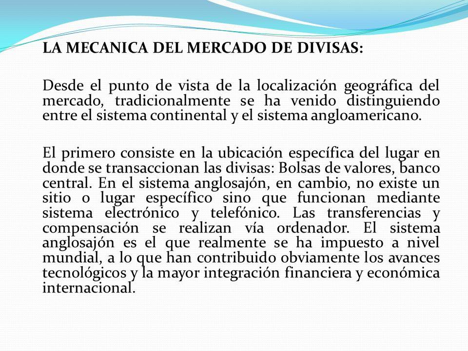LA MECANICA DEL MERCADO DE DIVISAS: Desde el punto de vista de la localización geográfica del mercado, tradicionalmente se ha venido distinguiendo ent