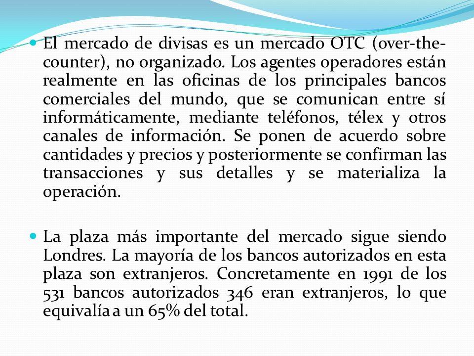 El mercado de divisas es un mercado OTC (over-the- counter), no organizado. Los agentes operadores están realmente en las oficinas de los principales