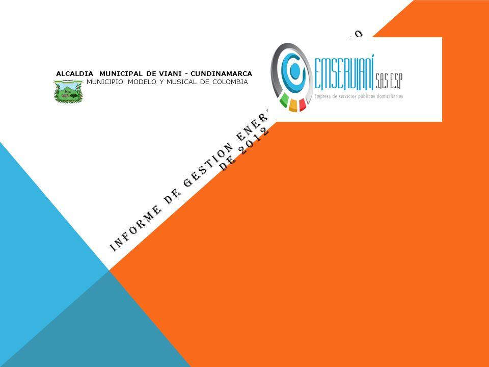 INFORME DE GESTION ENERO 10 A JUNIO 30 DE 2012 ALCALDIA MUNICIPAL DE VIANI - CUNDINAMARCA MUNICIPIO MODELO Y MUSICAL DE COLOMBIA