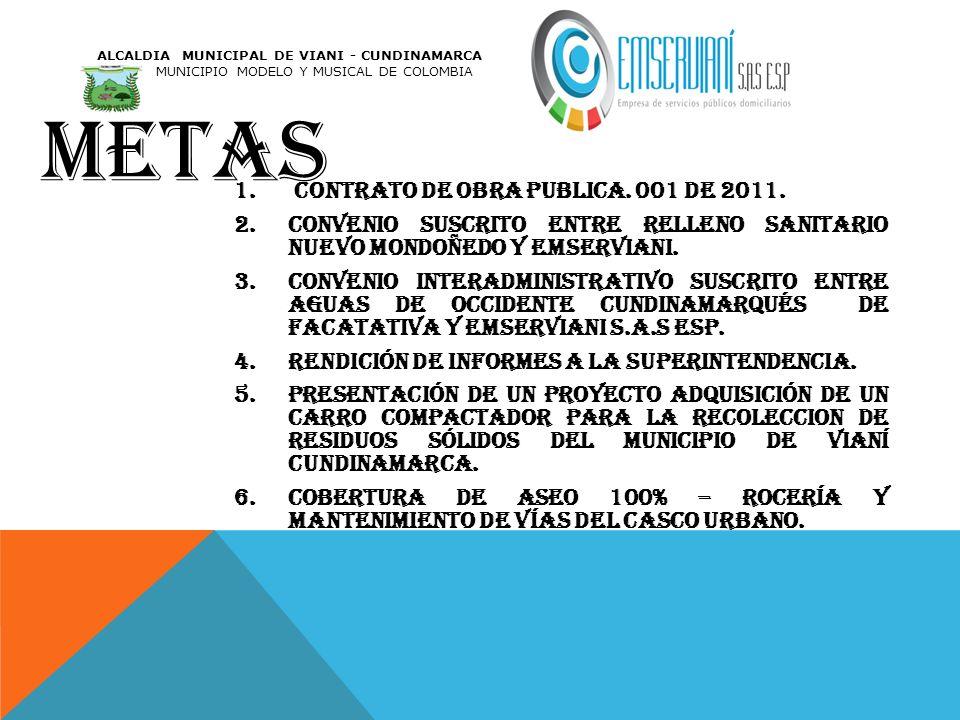 METAS 1. contrato de obra publica. 001 de 2011. 2.convenio suscrito entre relleno sanitario nuevo Mondoñedo y Emserviani. 3.convenio interadministrati