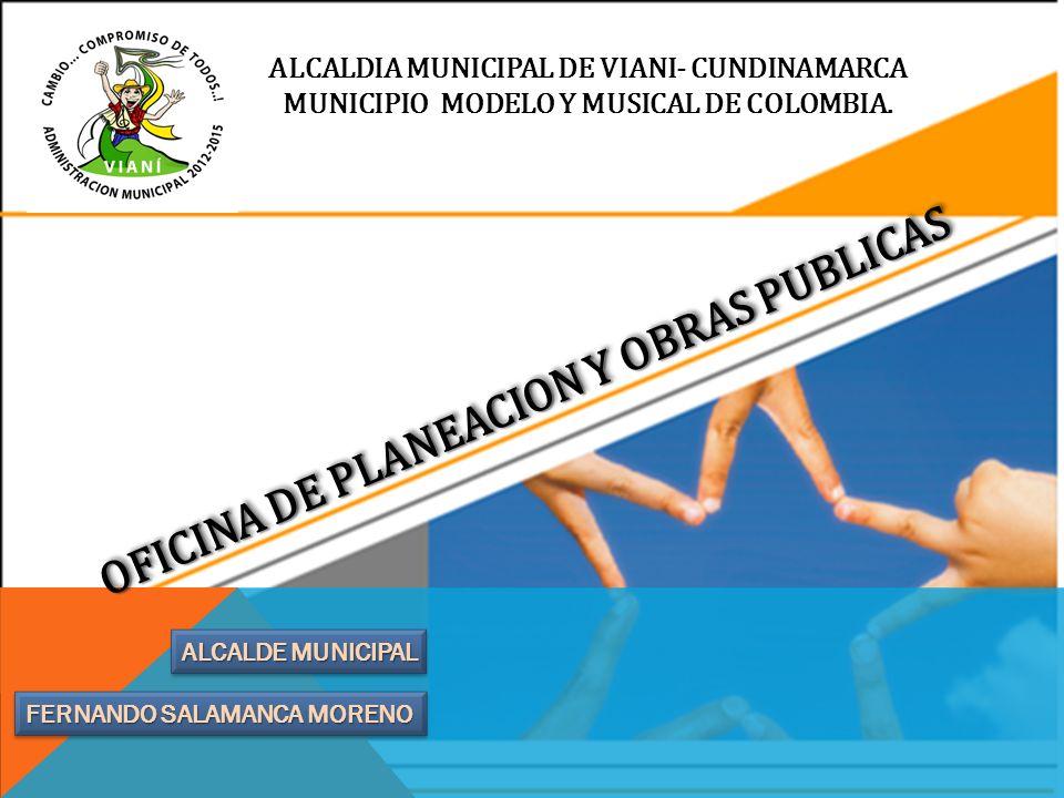 ALCALDIA MUNICIPAL DE VIANI- CUNDINAMARCA MUNICIPIO MODELO Y MUSICAL DE COLOMBIA. FERNANDO SALAMANCA MORENO ALCALDE MUNICIPAL OFICINA DE PLANEACION Y