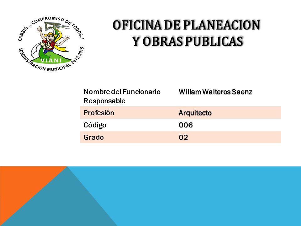 OFICINA DE PLANEACION Y OBRAS PUBLICAS Y OBRAS PUBLICAS OFICINA DE PLANEACION Y OBRAS PUBLICAS Y OBRAS PUBLICAS Nombre del Funcionario Responsable Wil
