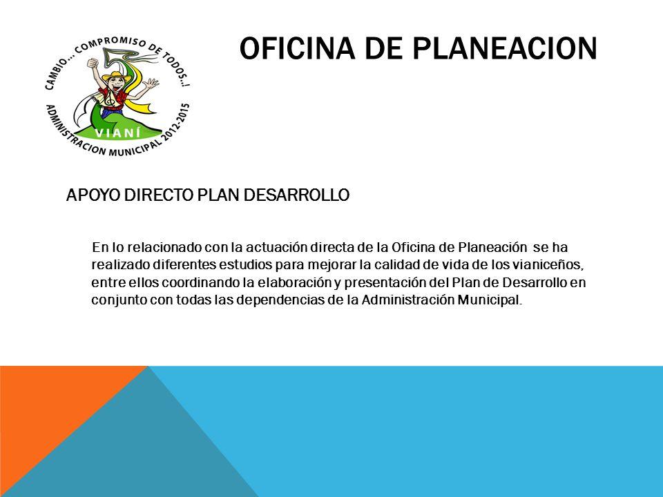 OFICINA DE PLANEACION APOYO DIRECTO PLAN DESARROLLO En lo relacionado con la actuación directa de la Oficina de Planeación se ha realizado diferentes