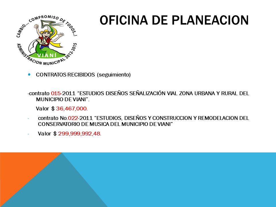 OFICINA DE PLANEACION CONTRATOS RECIBIDOS (seguimiento) -contrato 015-2011 ESTUDIOS DISEÑOS SEÑALIZACIÓN VIAL ZONA URBANA Y RURAL DEL MUNICIPIO DE VIA