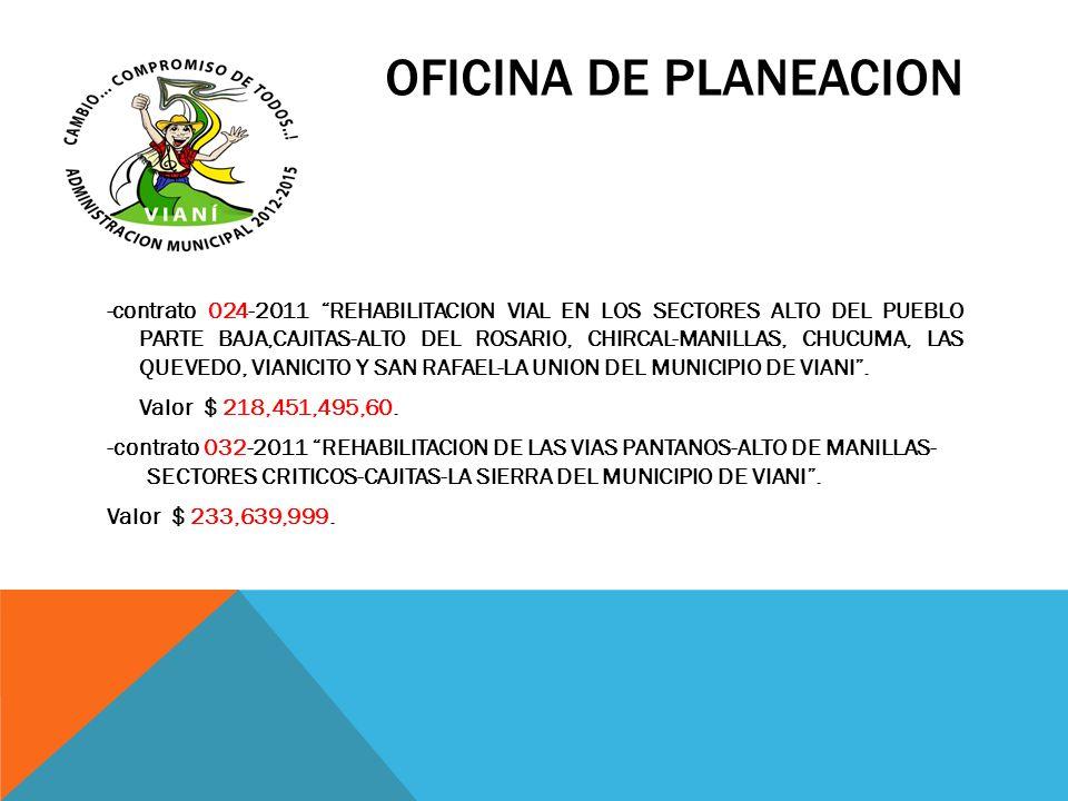 OFICINA DE PLANEACION -contrato 024-2011 REHABILITACION VIAL EN LOS SECTORES ALTO DEL PUEBLO PARTE BAJA,CAJITAS-ALTO DEL ROSARIO, CHIRCAL-MANILLAS, CH