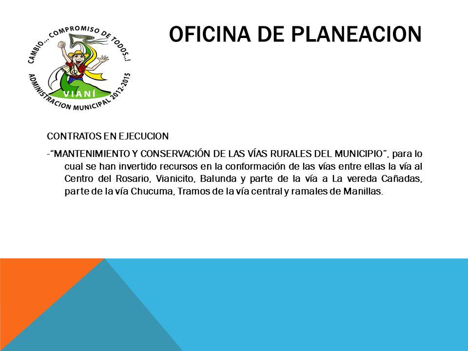 OFICINA DE PLANEACION CONTRATOS EN EJECUCION -MANTENIMIENTO Y CONSERVACIÓN DE LAS VÍAS RURALES DEL MUNICIPIO, para lo cual se han invertido recursos e