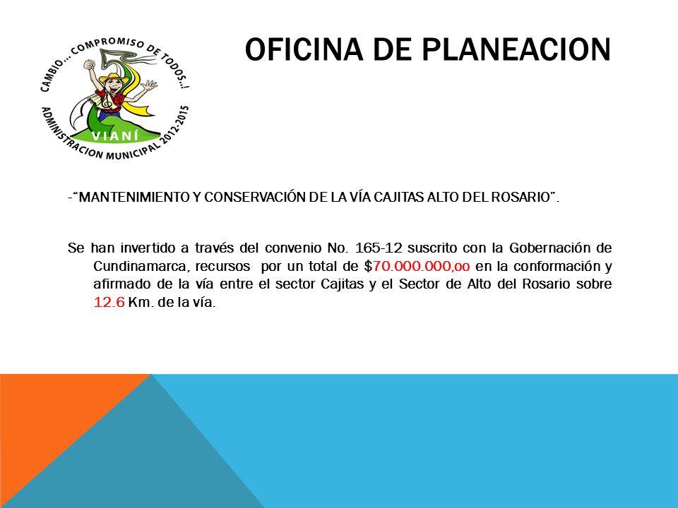 OFICINA DE PLANEACION -MANTENIMIENTO Y CONSERVACIÓN DE LA VÍA CAJITAS ALTO DEL ROSARIO. Se han invertido a través del convenio No. 165-12 suscrito con