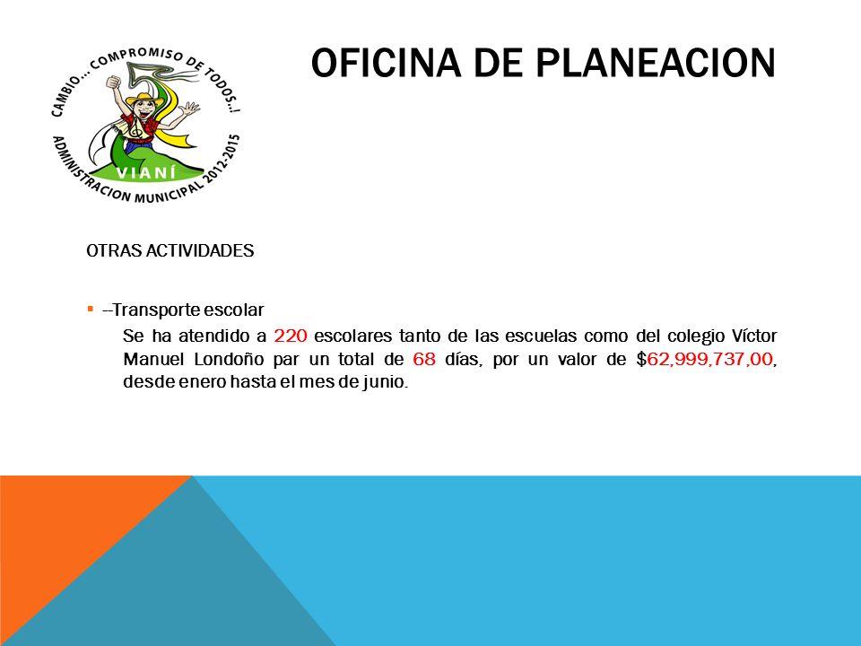 OFICINA DE PLANEACION OTRAS ACTIVIDADES --Transporte escolar Se ha atendido a 220 escolares tanto de las escuelas como del colegio Víctor Manuel Londo
