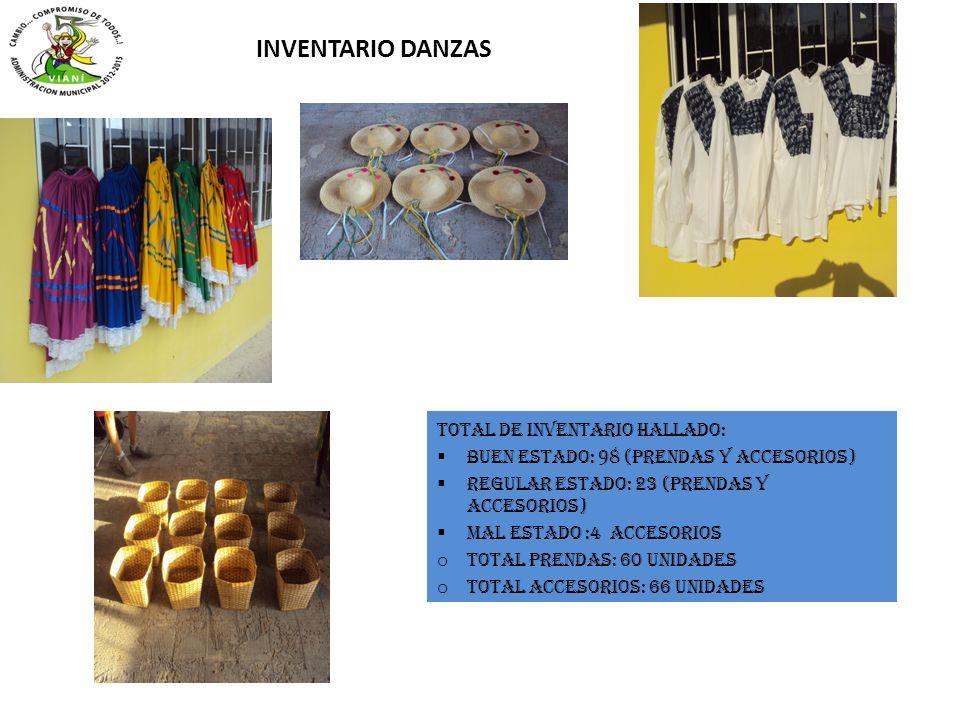 INVENTARIO DANZAS Total de inventario hallado: Buen estado: 98 (prendas y accesorios) Regular estado: 23 (prendas y accesorios) Mal estado :4 accesori