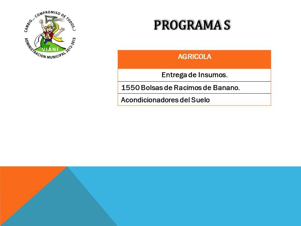 PROGRAMA S AGRICOLA Entrega de Insumos. 1550 Bolsas de Racimos de Banano. Acondicionadores del Suelo