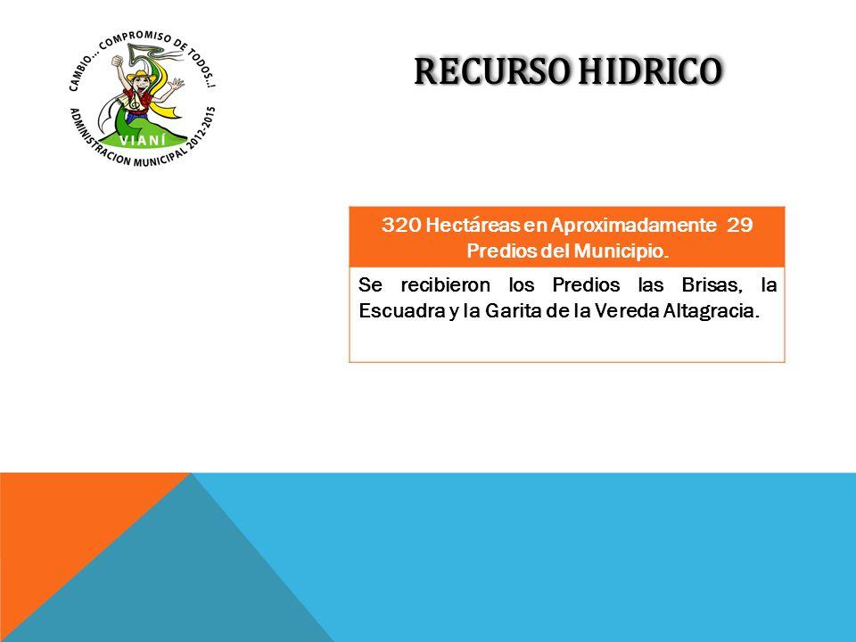 RECURSO HIDRICO 320 Hectáreas en Aproximadamente 29 Predios del Municipio. Se recibieron los Predios las Brisas, la Escuadra y la Garita de la Vereda